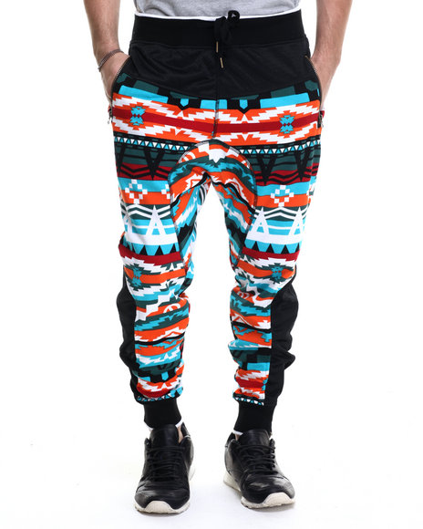 Ur-ID 215210 Buyers Picks - Men Blue Navajo Pattern French Terry Drop - Crotch Pants