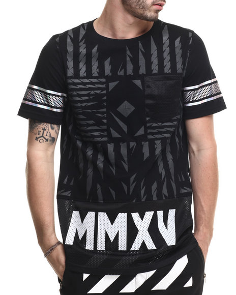 Buyers Picks - Men Black M M X V Mesh - Bottom Cotton Jersey Tee