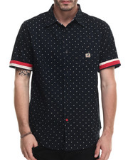 Shirts - S/S Print Polka Dot Woven Shirt with Flag Trim