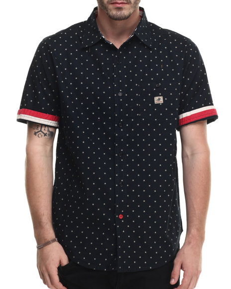Winchester - Men Navy S/S Print Polka Dot Woven Shirt With Flag Trim - $26.99