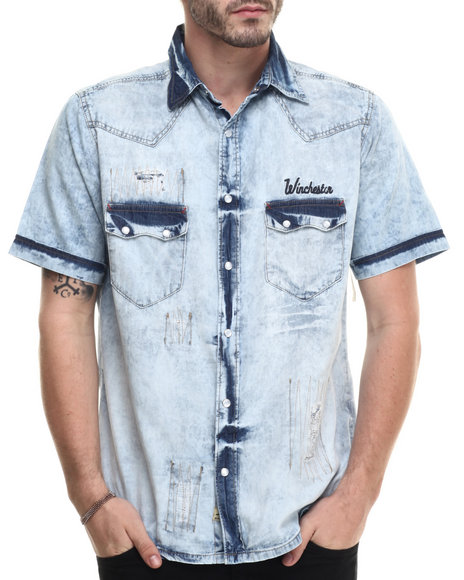 Ur-ID 215238 Winchester - Men Medium Wash S/S Acid Washed Woven Denim Shirt