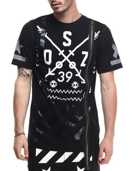 Buyers Picks - Men Black S Q Z Zipper - Trimmed Tee