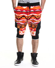Men - Navajo Pattern French Terry Drop - Crotch Shorts
