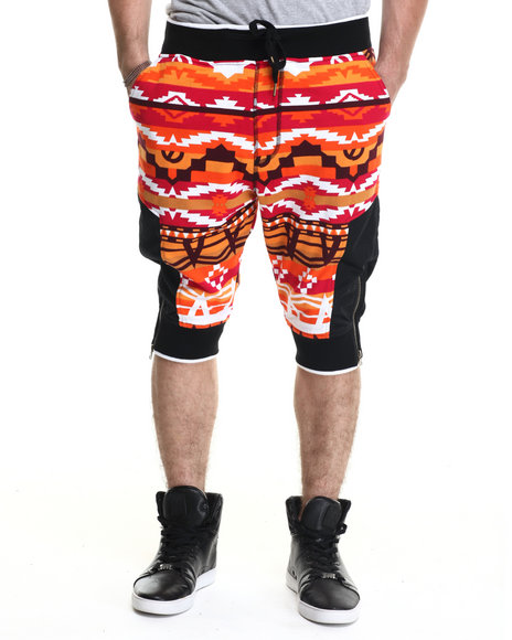 Ur-ID 215207 Buyers Picks - Men Orange Navajo Pattern French Terry Drop - Crotch Shorts