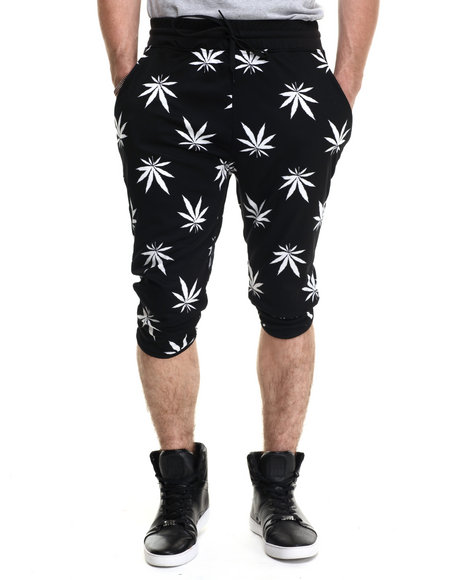 Buyers Picks - Men Black Plant Life Drawstring Shorts