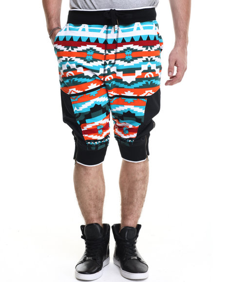 Buyers Picks - Men Blue Navajo Pattern French Terry Drop - Crotch Shorts