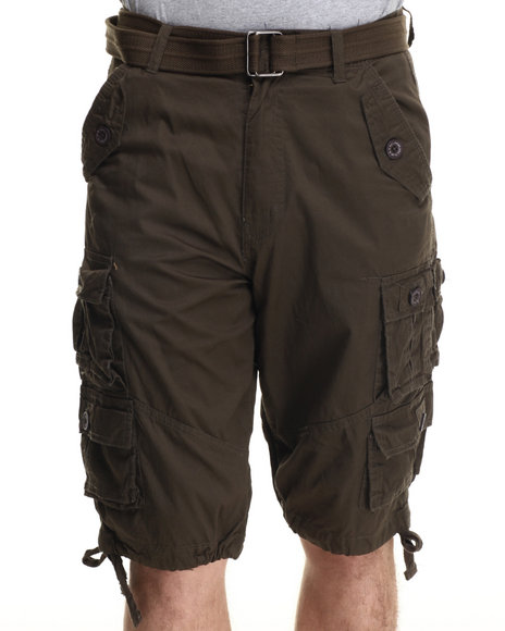 Ur-ID 215257 Buyers Picks - Men Olive Washed Twill Belted Cargo Shorts