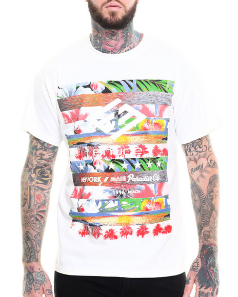 Enyce - Men White Tropic Stripe T-Shirt