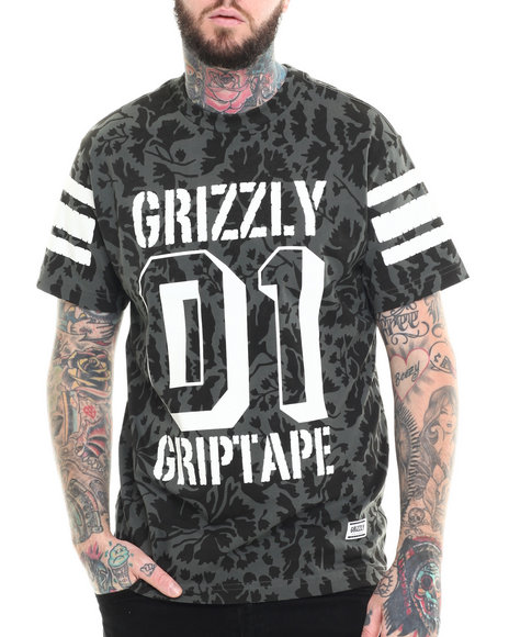 Grizzly Griptape - Men Black Springfield Camo Grizzly Bowl Tee