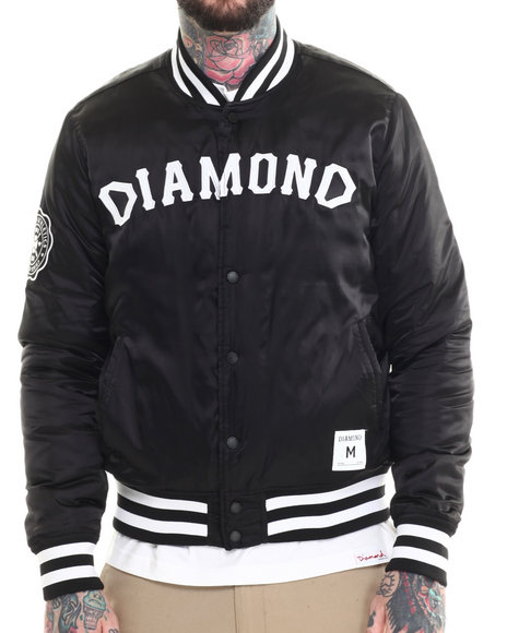 Diamond Supply Co - Men Black Dug Out Varsity Jacket