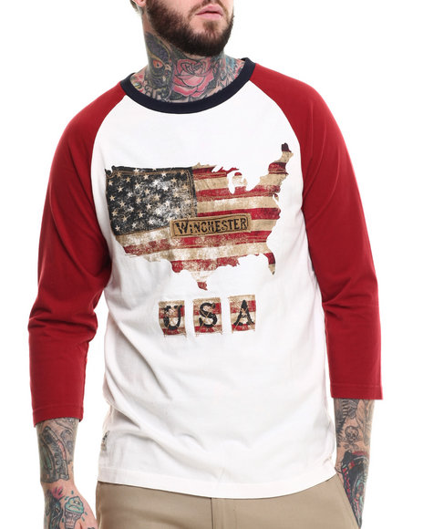 Winchester - Men White 3/4 Raglan Flag Baseball Tee