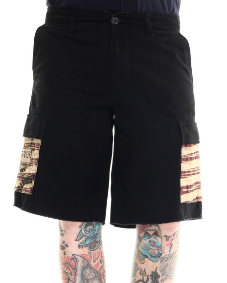 Winchester - Men Black Frayed Hem Twill Cargo Short With Flag Pockets