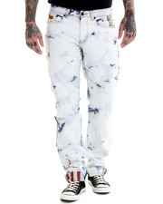 Jeans & Pants - Acid Washed Denim Jean with Flag Trim Details