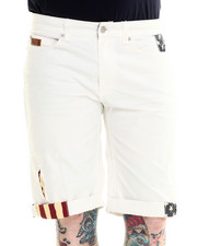 Men - Denim Short with Flag Trim Details