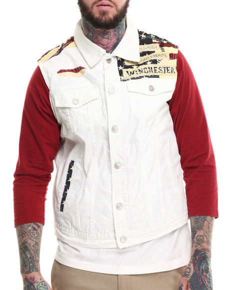Ur-ID 215324 Winchester - Men White Denim Flag Vest