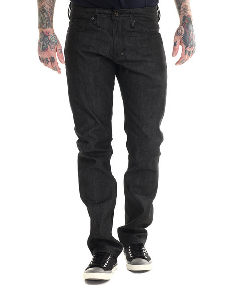 Ur-ID 215328 AKOO - Men Black Big Oak Slim Fit Jeans
