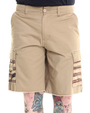 Men - Frayed Hem Twill Cargo Short with Flag Pockets