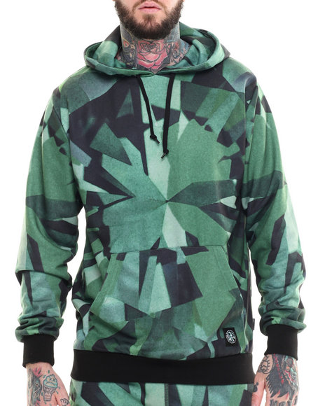 Ur-ID 215336 Diamond Supply Co - Men Green Simplicity Sublimated Pullover Hoodie