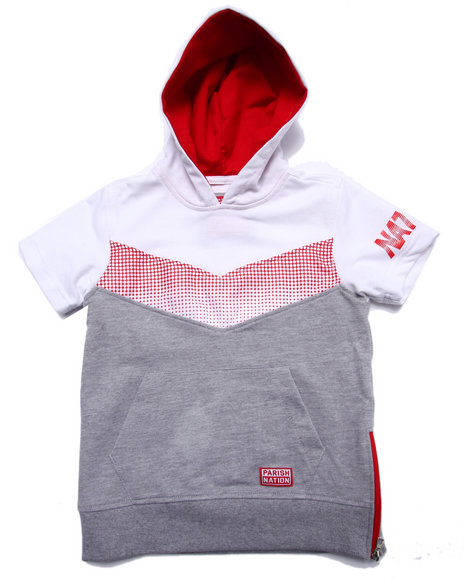 Parish - Boys Grey Half Tone S/S Hooded Pullover (4-7)