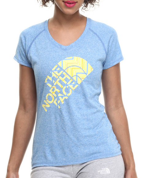 The North Face - Women Blue Short Sleeve Zig Reaxion V-Neck Tee