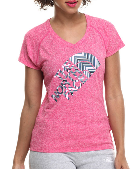 The North Face - Women Pink Short Sleeve Zig Reaxion V-Neck Tee