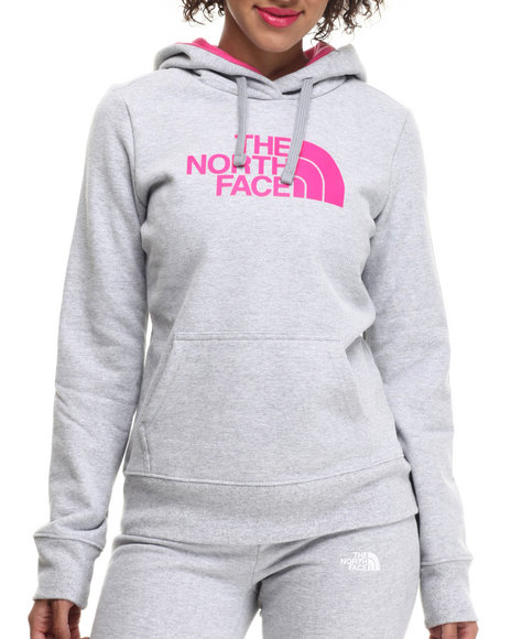 The North Face - Women Light Grey,Pink Half Dome Hoodie
