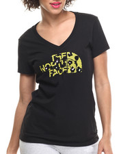 Women - Short Sleeve Leopard Logo V-Neck Tee