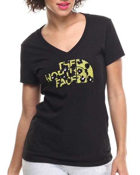 The North Face - Women Black Short Sleeve Leopard Logo V-Neck Tee