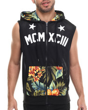 Men - Floral Perforated Mesh Sleveless zip up Hoodie