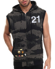 Men - Black Sail Sleeveless Hoodie
