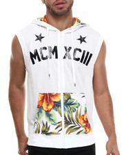 Men - Floral Perforated Mesh Sleveless zip up Hoody