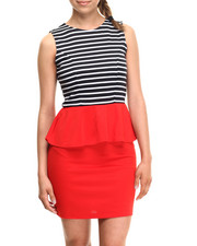 Women - Striped Peplum Ponte Knit Dress