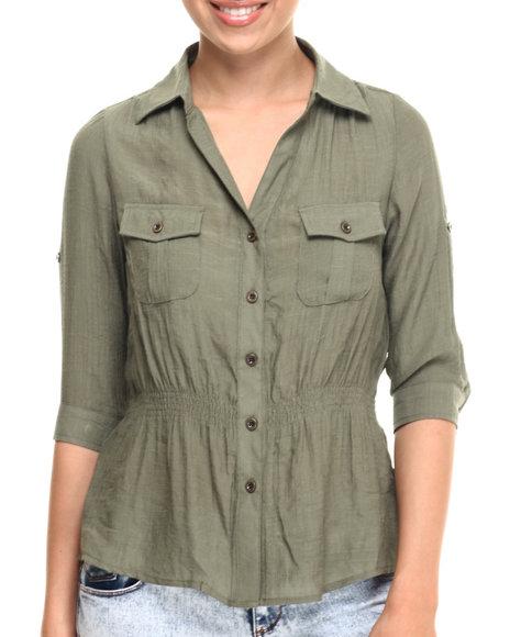 Ur-ID 215262 ALI & KRIS - Women Olive Gauze Rouched Waist Shirt