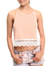 Fashion Lab - Paris Stripe Cami w/crochet detail
