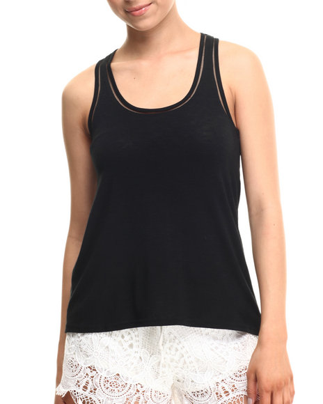 Fashion Lab - Women Black Heathered Oversize Tank Top - $2.99