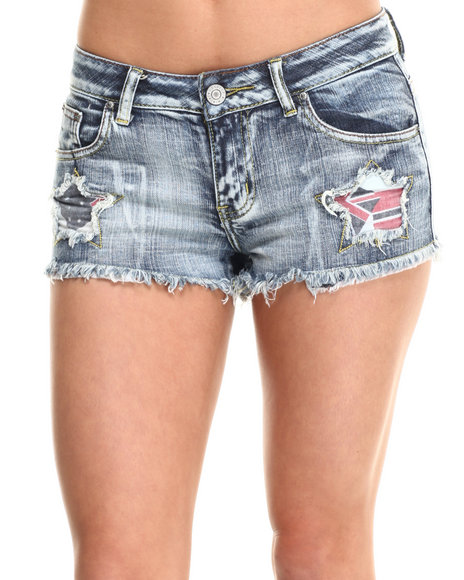 Fashion Lab - Women Medium Wash Americana Patchwork Denim Short
