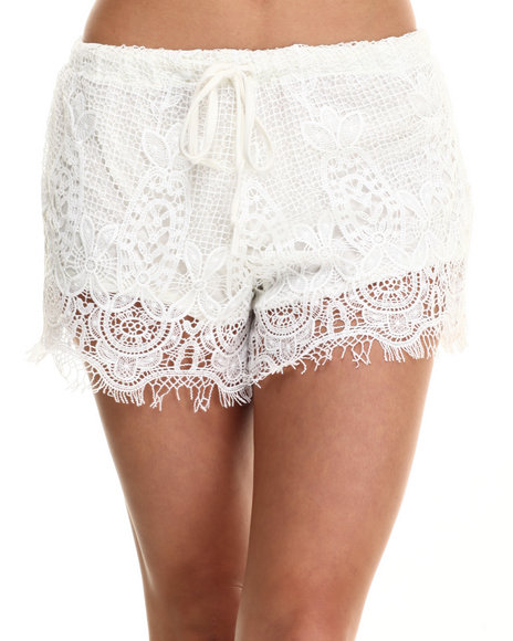 Fashion Lab - Women Off White,White Crochet Lace Short