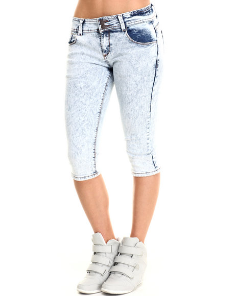 Basic Essentials - Women Light Blue Skinny Super Star Capri