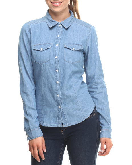 Ur-ID 215258 ALI & KRIS - Women Medium Wash Denim Western Shirt