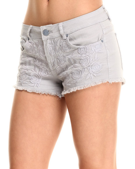 Ur-ID 215463 Fashion Lab - Women Grey Floral Embroidered Colored Short