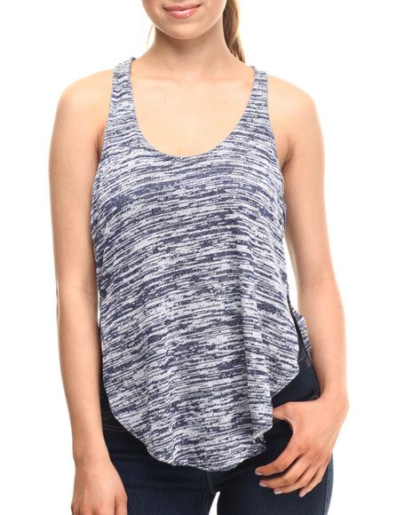 Fashion Lab - Women Grey,Navy Extreme Racer Tank Top