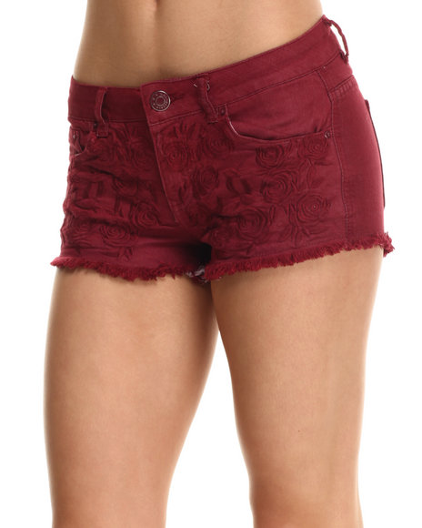 Fashion Lab - Women Maroon Floral Embroidered Colored Short