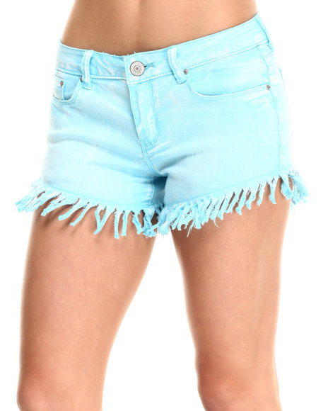 Fashion Lab - Women Light Blue Daisy Heavy Frayed Short