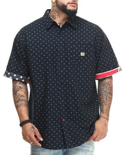 Men - S/S Print Polka Dot Woven Shirt with Flag Trim (B&T)