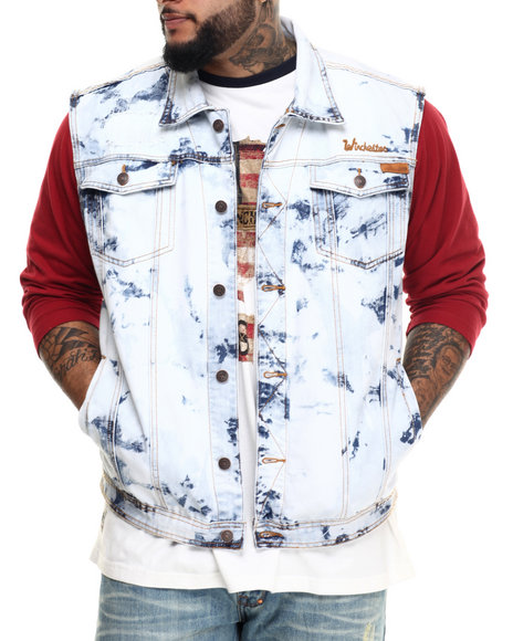 Ur-ID 215247 Winchester - Men Vintage Wash Acid Wash Flag Vest (B&T)