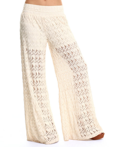 Fashion Lab - Women Cream Zig Zag Crochet Lace Palazzo Pant - $12.99