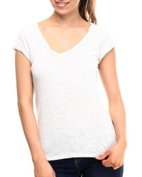 Fashion Lab - Women White Speckle Jersey Tee