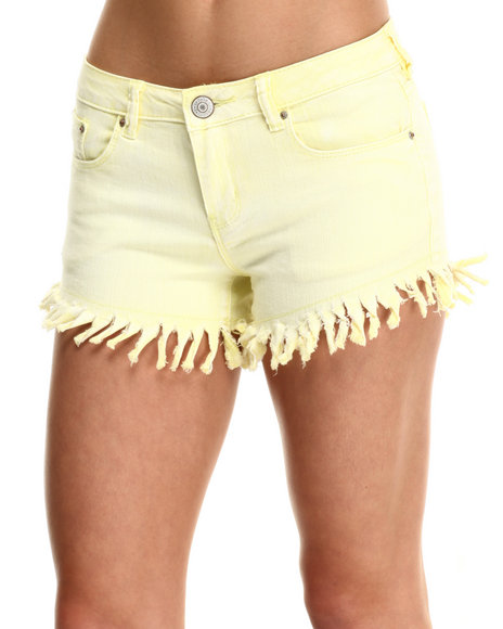Fashion Lab - Women Yellow Daisy Heavy Frayed Short