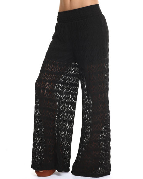 Fashion Lab - Women Black Zig Zag Crochet Lace Palazzo Pant