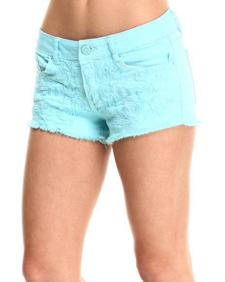 Fashion Lab - Women Light Blue Floral Embroidered Colored Short